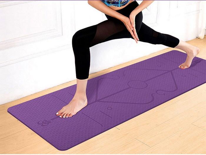 Коврик для йоги с разметкой
